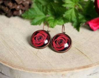 Red Rose Earrings, Antique Copper, Glass Cabochon, Flower Earrings