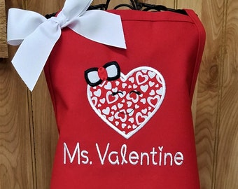 Child Apron Personalized Aprons Valentine Gift Ms. Valentine or Mr. Valentine