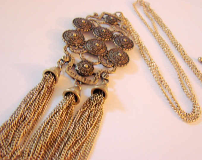 Vintage Renaissance Revival Statement Tassel Necklace Jewelry Jewellery