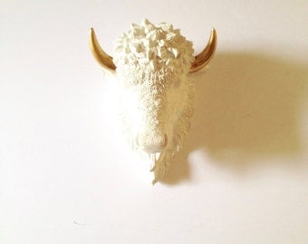 CUSTOM White with Gold SMALL Bison Head wall mount / Faux Taxidermy animal head / buffalo head  nursery wall decor  office  kids room decor