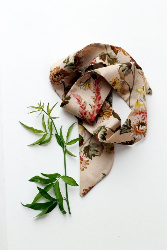 Necktie, neckerchief, choker, hair bow, baby headband in vintage 1978 beige floral fabric - LAST ONE!