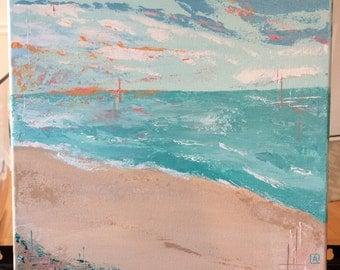 Original Fine Art Beach Landscape Acrylic Painting Wall Art Medium 12 x 12 inches Canvas