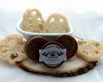 Hand Crafted CHOCOLATE ESPRESSO Coconut Milk Loofah Soap