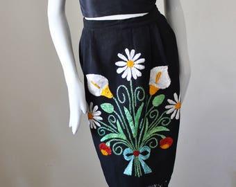 Vintage embroidered skirt, black, linen, floral, tassel, fringe, beautiful 1970s fashion.