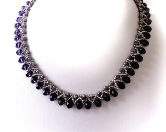 Crystal Necklace, Bead Weaved Necklace, Amethyste Color Necklace, Purple Choker, Beadwork Necklace, Bead Weaving Necklace