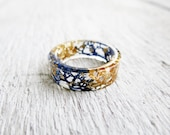 Royal blue gold ring promise ring for her Blue moss ring Unique rings for her Resin rings Terrarium jewelry nature inspired engagement rings