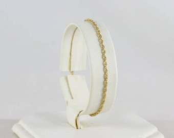 14K Yellow Gold Rope Chain Bracelet 7 Inch