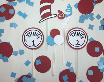 Cat in the hat cupcake toppers,thing one and thing two,Dr. Seuss birthday party,cat in the hat party,red and white decorations,cupcake picks