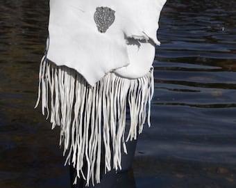 White Washed Elk Hide Medicine Bag with Vintage Link and Long Goat Leather Fringe - One Of A Kind