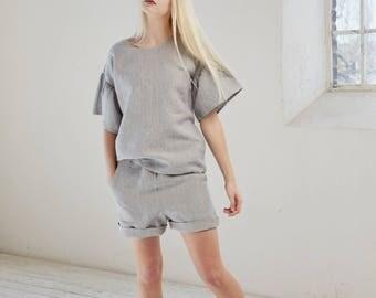 Women's linen shorts, Striped summer shorts, Natural flax shorts, Shorts with elastic waist, Handmade organic shorts, Summer clothing