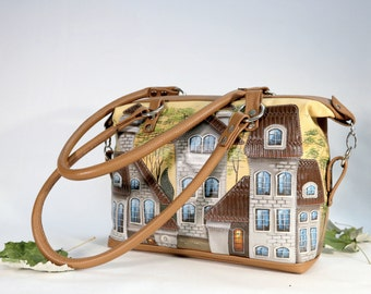Hand-Painted Leather Bag Top Handle Bag leather appliqué brown Tote Bag painted houses shoulder bag knobs purse unique bag art bag
