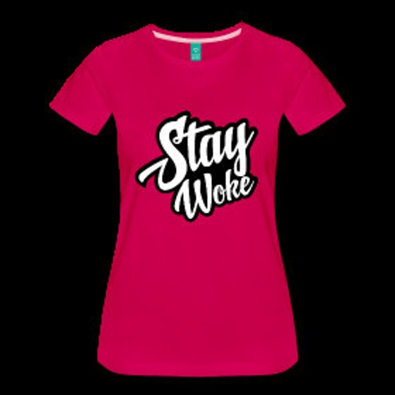Stay Woke Women's Natural Hair Fitted T-Shirt - Dark Pink