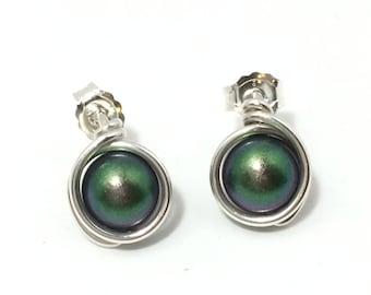 Scarabaeus Green Pearl Studs ~ Argentium Silver Swarovski Crystal Stud Earrings ~ Handmade Swarovski Stud Earrings~ Crystal Studs ~
