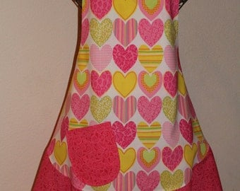 Women's Large Bright and Beautiful Heart Apron