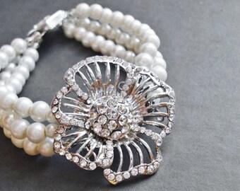 Multi Strand Pearl Bracelet Wedding Jewelry Bridal Bracelet Pearl Jewelry Flower Bracelet Bridal Jewelry Statement Bracelet Floral Jewelry