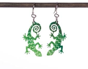 Lizard Earrings Eclectic Design Hand painted Jewelry Enameled Gecko Earrings, Whimsical Reptile Fun Earrings, Quirky Earrings, Playful Style