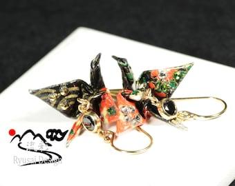 Origami Earrings,Origami Crane Earrings,Japanese Jewelry,Crane Earrings,Japanese paper,Cubic zirconia Earrings,Japan,Gift for her