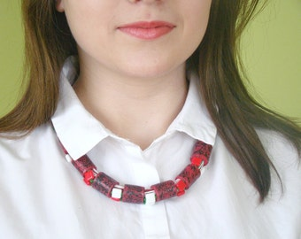 Coral red necklace Boho jewelry Summer necklace Choker necklace Beaded Jewelry Ethnic necklace Layered necklace Rope necklace Bohemian
