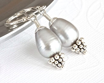 Gray Freshwater Pearl Earrings, Pearl Drop Earrings, Large Pearl Earrings, Gray Pearl Earrings, Sterling Silver Jewelry for Her, Mom Jewelry