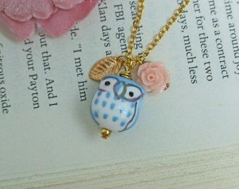 Owl Necklace, Whimsical Owl Necklace, Porcelain Owl Necklace, Gold Filled Chain, Leaf Necklace, Bird Necklace, Rose Necklace