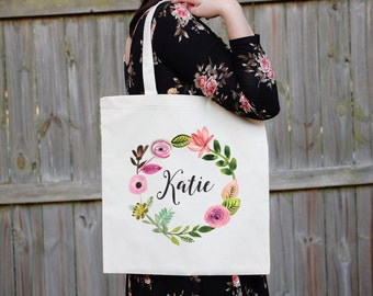 Bridesmaid Tote Bag, Floral Canvas Tote Bag, Maid of Honor Tote Bag, Bridal Party Tote Bag, Custom Wedding Bag, Personalized Wedding