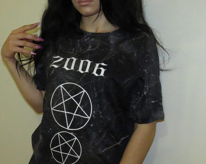 SALEM black marble pentagram T-shirt