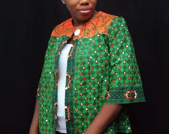 Ankara print jacket- green and orange blazer - green jacket  - African print top - green cardigan