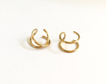 In Stock Now!  Very Popular Gold Ear Cuffs, Double Ear Cuff, Criss Cross Ear Cuff, Cartlide Cuff, 14kt Gold Filled, 925 Sterling Silver