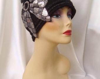 Black Wool 1920s Cloche Hat, Gatsby Inspired Flapper Hat, Black Wool Beanie, Downton Abby Inspired Hat