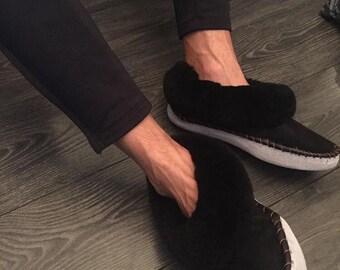 Men sheepskin slippers