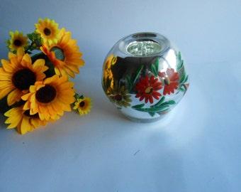 Vintage Mercury Glass Vase,Old Mirrored Vase,Sphere Mercury Vase,Mercury Glass Vases,Oval Glass Vases,Ball Mercury Vase,Globe Mirrored Vase