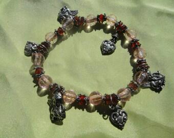 Vintage stretch angle heart bracelet stretch stretchy gift