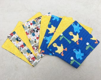 Character Burp Cloth Gift Pack ~ Pack of 4 Burp Cloths ~ Baby Shower Gift ~ Mickey Mouse ~ Sesame Street ~ 100% Cotton