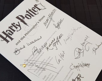 Harry Potter and Philosophers Stone Film Movie Script with Signatures/Autographs Reprint