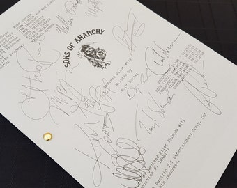 Sons of Anarchy TV Script with Signatures / Autographs Reprint SOA Unique Gift