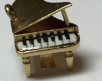 Vintage 14k Yellow Gold Baby Grand Piano With Enameled Keyboard