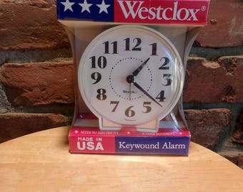 Vintage Westclox Keno White Key Wind Alarm Clock, New in box wind up clock, travel clock, camping clock, New old stock in package