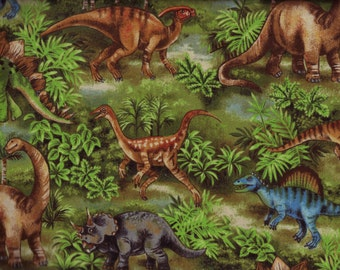 BTY Prehistoric DINO's DINOSAURS on Green Print 100% Cotton Quilt Craft Fabric by the Yard