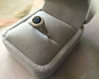 Antique Art Deco Vintage Sterling Silver Ring with Blue Sapphire ring size 7 or N