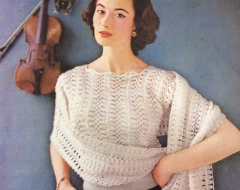 Vintage knitting pattern 1950's Lavender 610 hairpin lace jumper and stole 34-36""