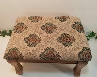 Brocade Padded Footstool, Vintage Footrest, Padded Stool, Brocade Stool, Home Decor, Mid Century, Gift Giving