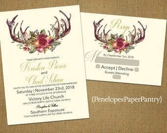 Cranberry invitation etsy for Rose gold winter wedding invitations