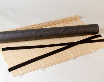 Bamboo Felting Rolling Mat Set, Foam Roller, Mesh Tulle and Self Grip Straps Ties, for Wet Felting, Matchstick Mat, 20 inches Felting Tool