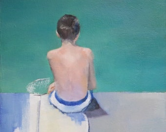 Original small oil painting of a boy by the sea