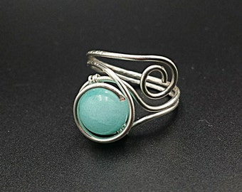 Aquamarine ring, blue ring, gemstone ring, beaded ring, wire wrapped ring, wire wrap,boho jewelry, silver ring, boho ring, green aquamarine