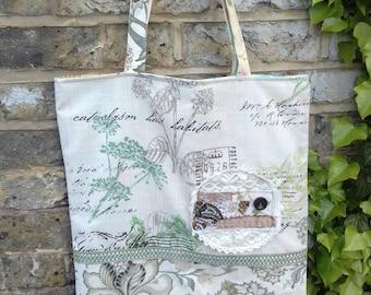 large vintage patchwork tote bag/market bag.