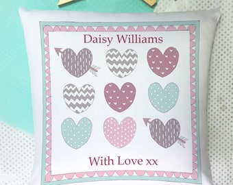 Personalised Cushion -baby Cushion -Baby Gift - Personalised Baby- Christening Gifts- Baptism Gifts- 1st Birthday- Pastel Hearts