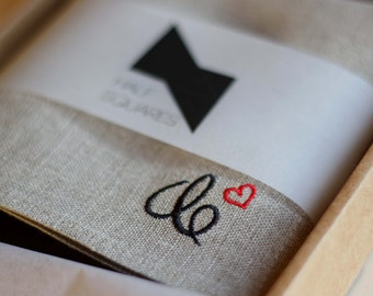 Embroidered pocket square, personalized men gift idea, handkerchief, wedding gift, hankerchief, linen pocket square, dating anniversary