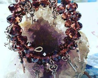 Beautiful charm bracelet, crystals, gift idea