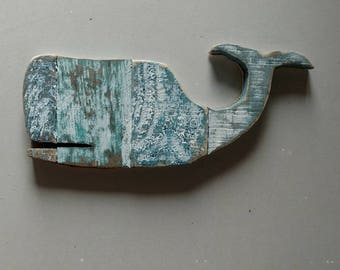 Reclaimed Wood Whale Wall Decor